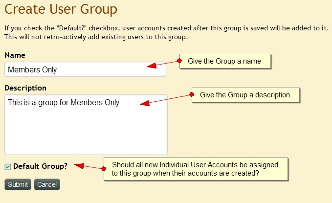 Create New User Group Account Exponent CMS