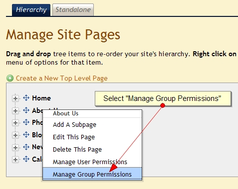 Assign Group Permissions to Exponent CMS pages
