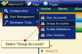 Exponent CMS Group Accounts Management