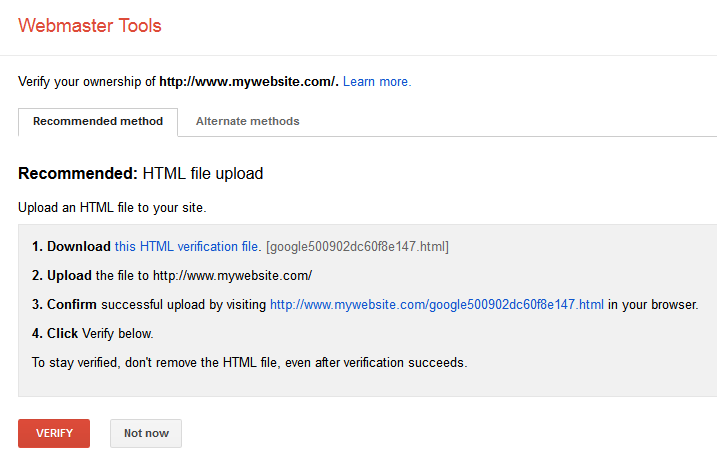 Google Webmaster Tools Verify Ownership